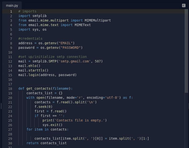 Screenshot of Python file so far